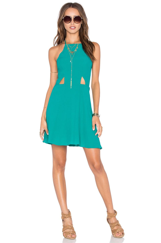 NBD x Naven Twins Sahara High Neck Halter Dress in Teal Green | REVOLVE