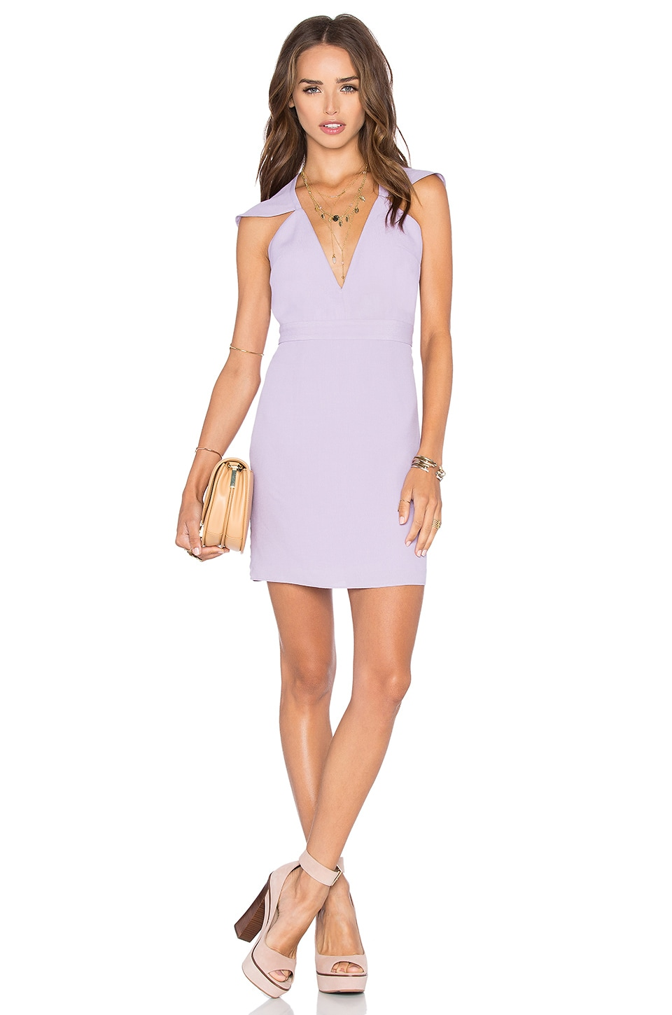 NBD x Naven Twins Flutter Sleeve Romance Bodycon Dress in Lavender
