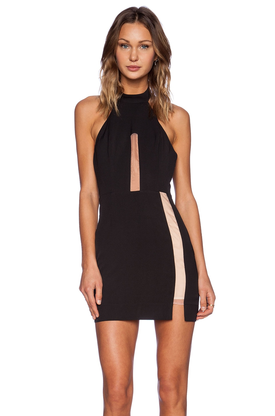 NBD Illusion Mock Collar Dress in Black