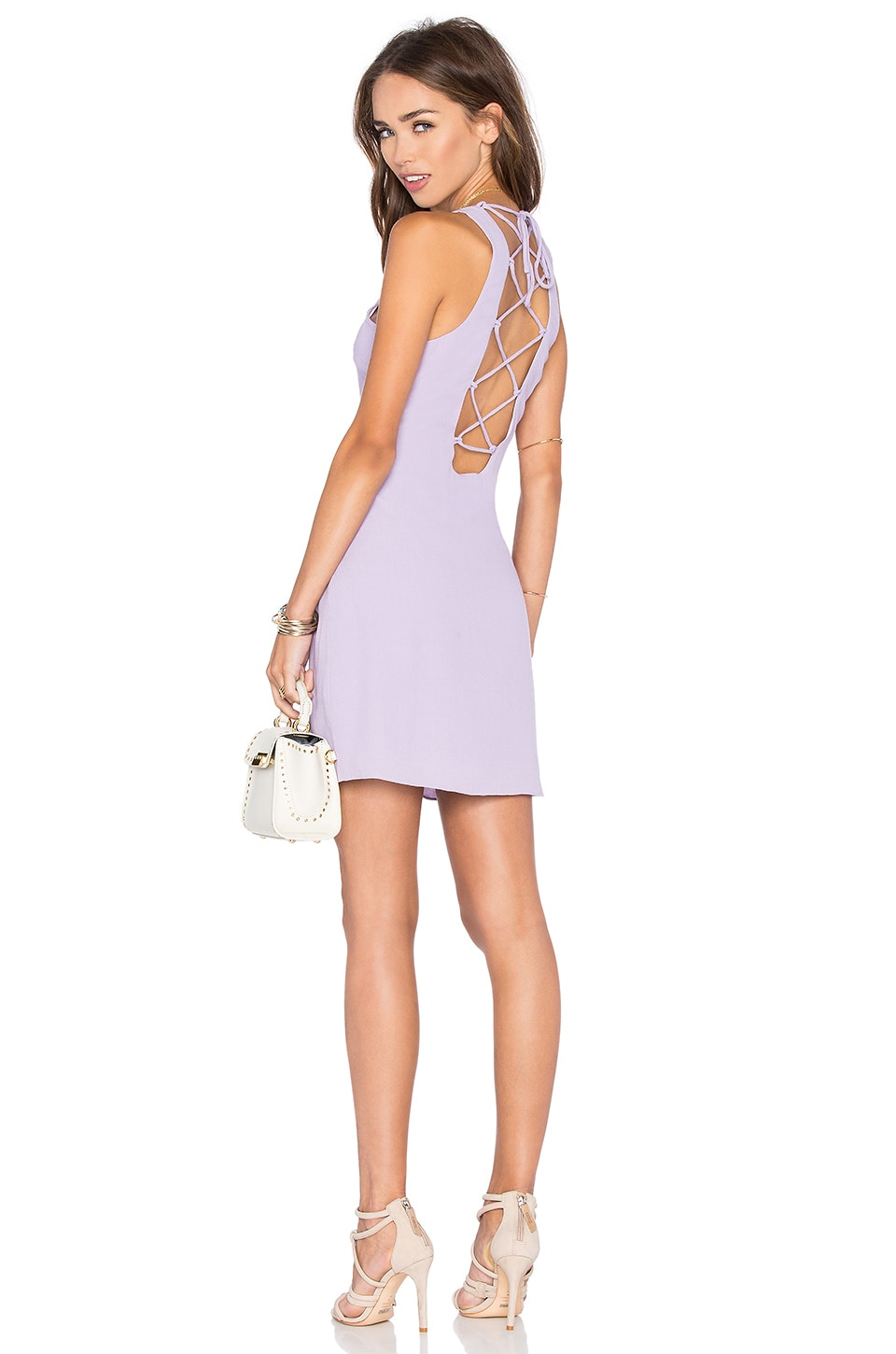 NBD x Naven Twins Headspins Laced Back Mini Dress in Lavender