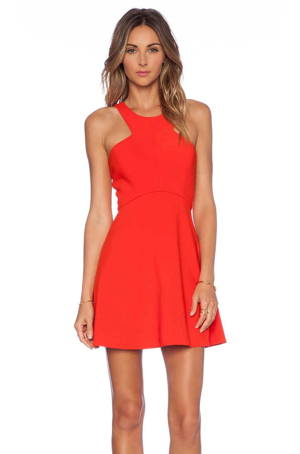 NBD x Naven Twins Believe Me Skater Dress in Poppy Red