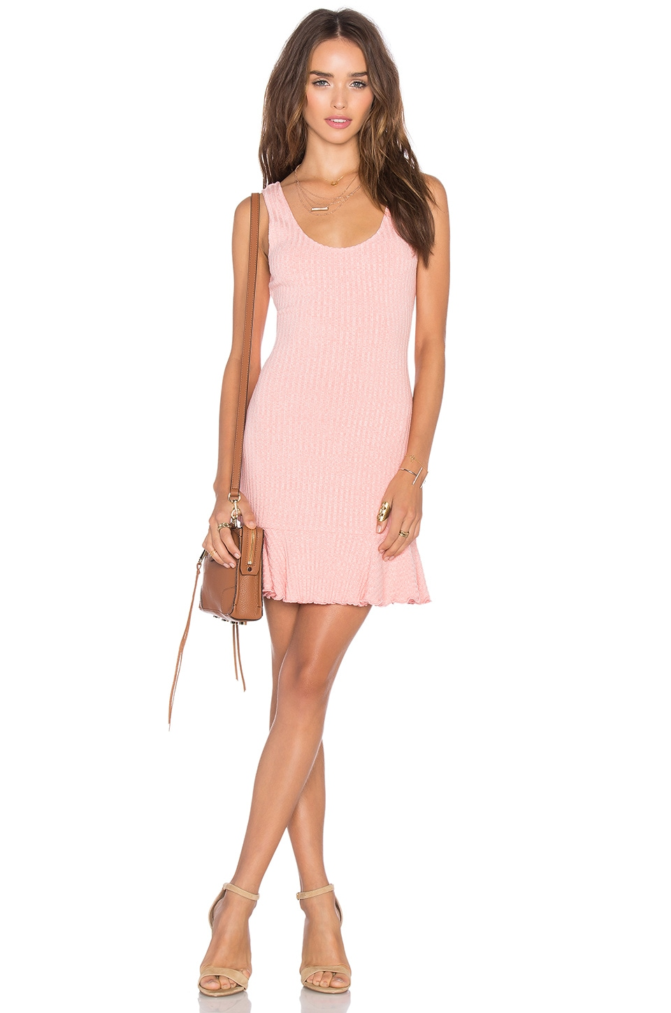 NBD There's Time Ribbed Dress in Heather Pink