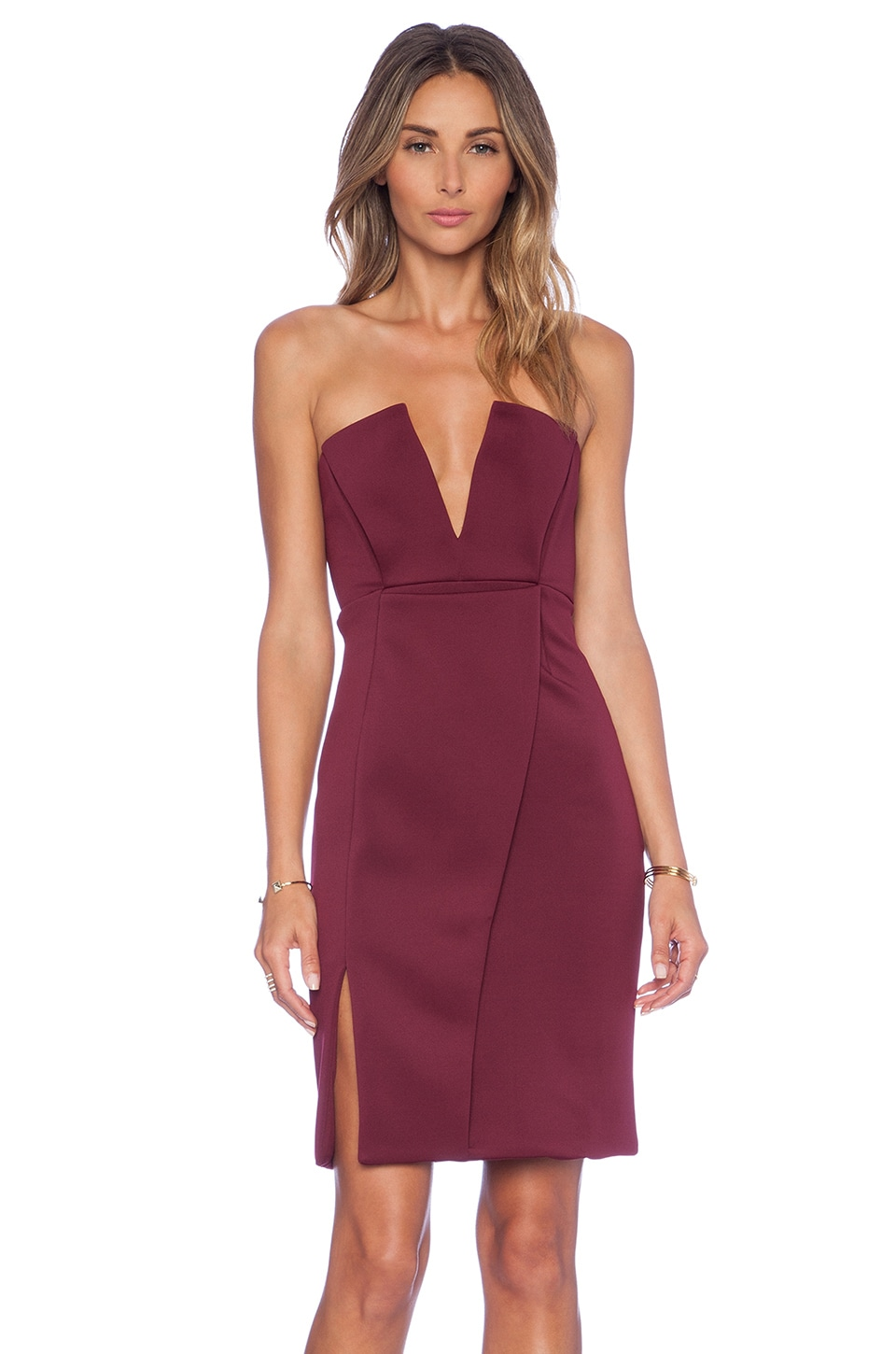 NBD Unravel Midi Dress in Bordeaux