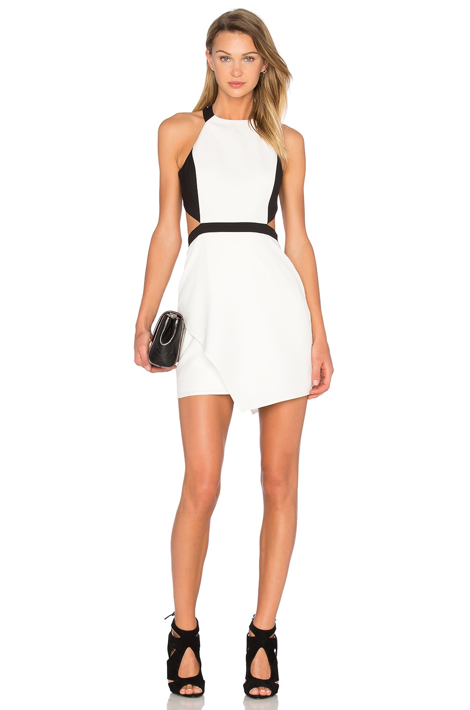NBD X Naven Twins VIP MVP Cutout Bodycon Dress in Black & White