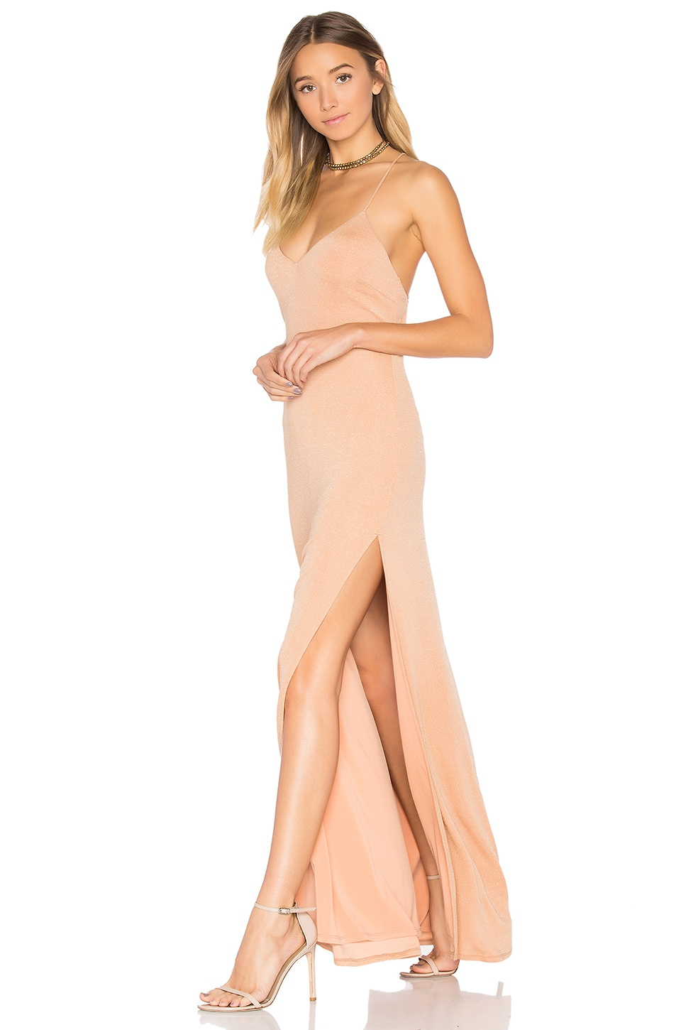 NBD x REVOLVE In The Deep Maxi Dress in Caramel & Gold