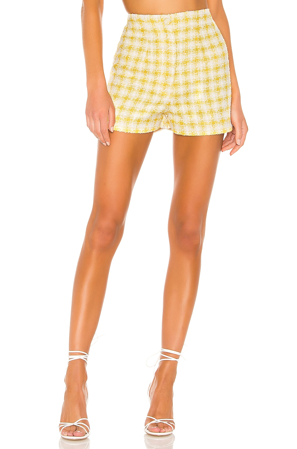 NBD Bergette High Waist Shorts in Yellow & White