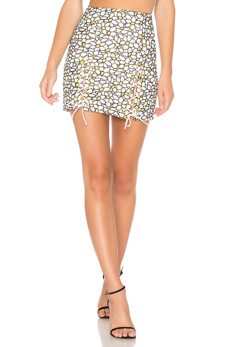 NBD Daisy Embroidered Mini Skirt in White Daisy