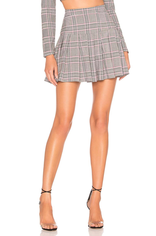NBD x Naven Charlie Skirt in Gray Pink Plaid