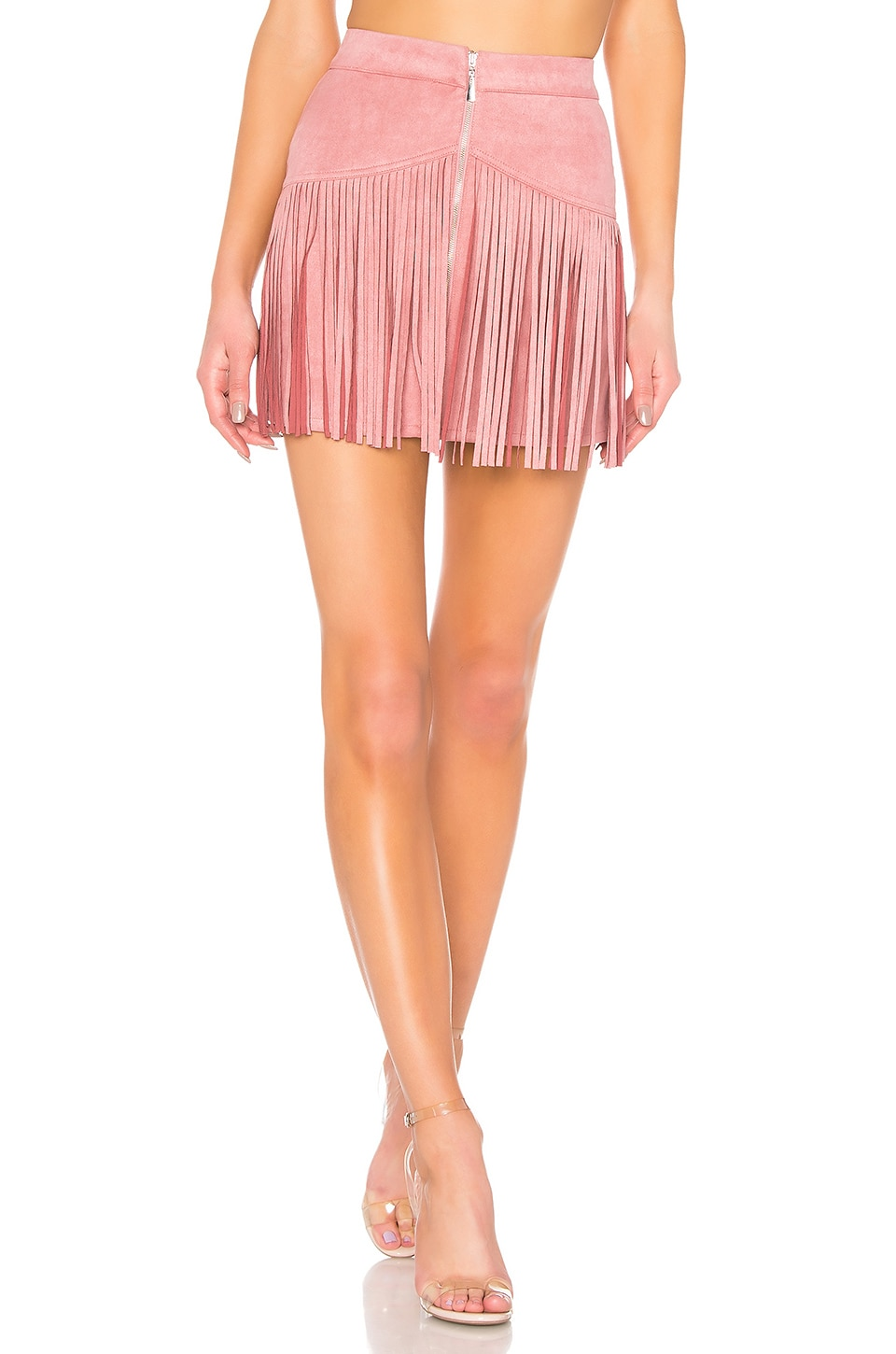 NBD x Naven Rylan Fringe Skirt in Rose Tan