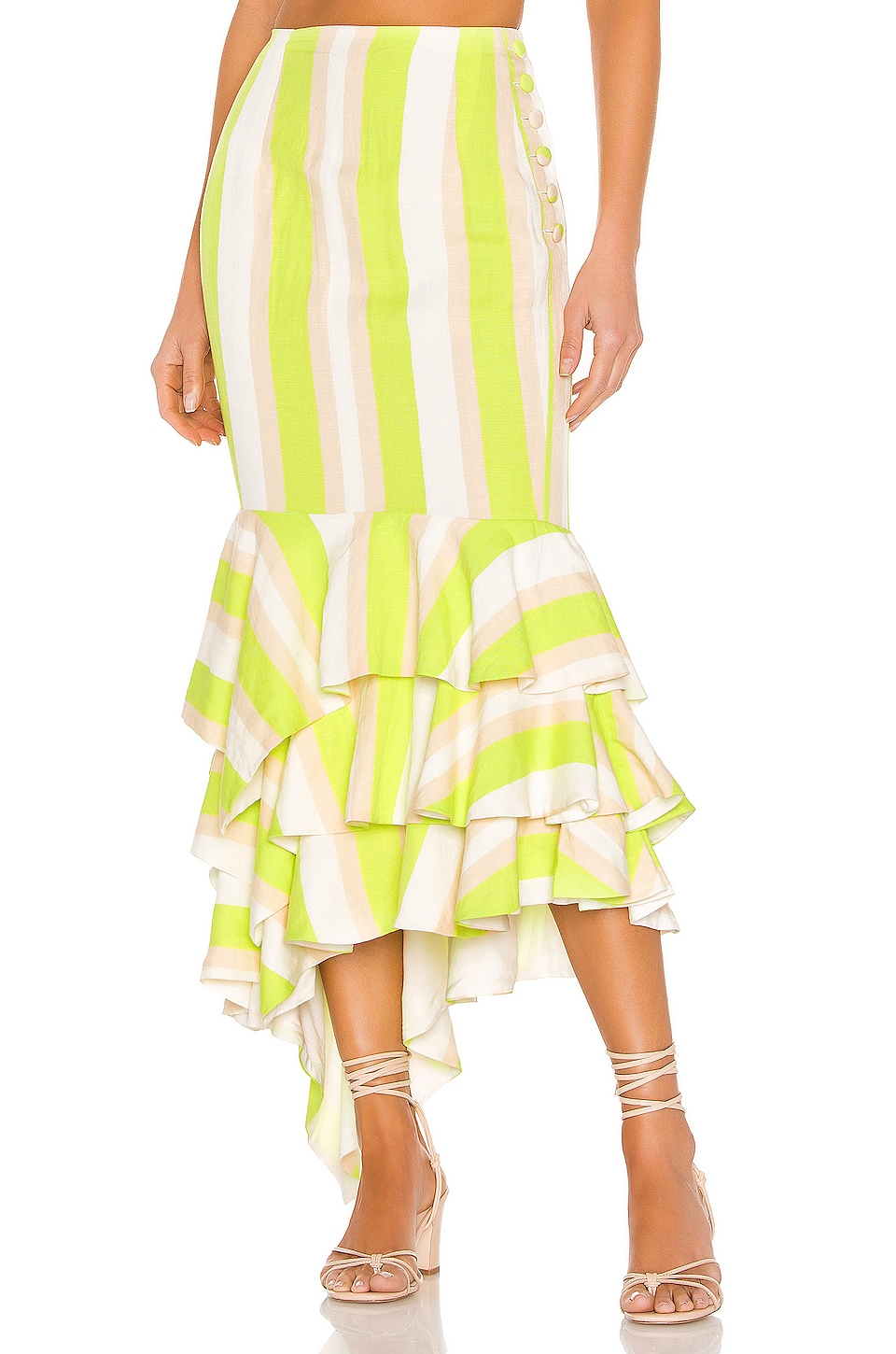 NBD Ayesha Midi Skirt in Lime & Ivory