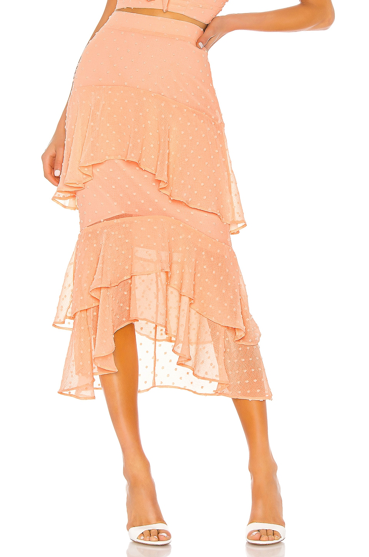NBD Gennadi Midi Skirt in Peach Nude
