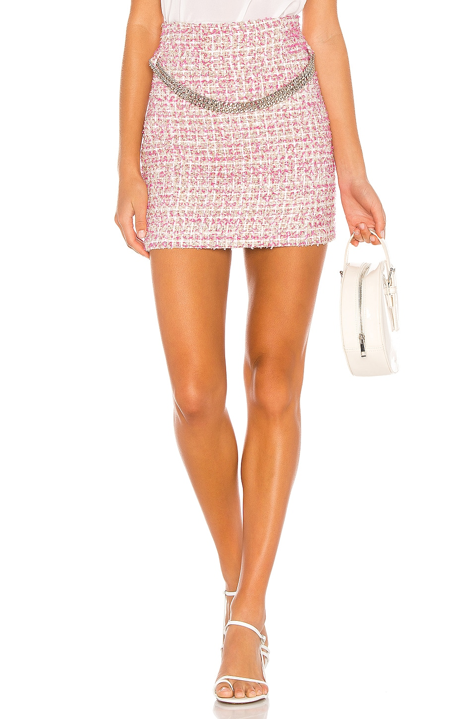 NBD Marianne Mini Skirt in Pink & Ivory