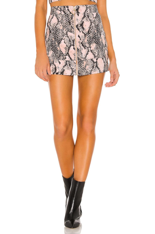 NBD x Naven Moto Skirt in Blush Python