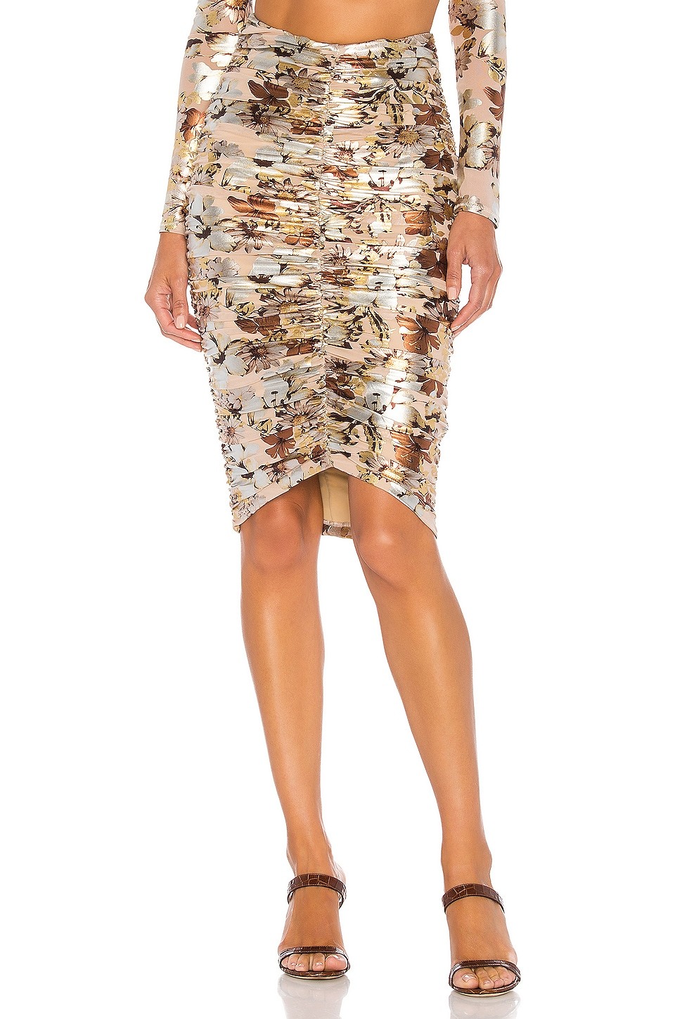 NBD Mads Midi Skirt in Nude Floral