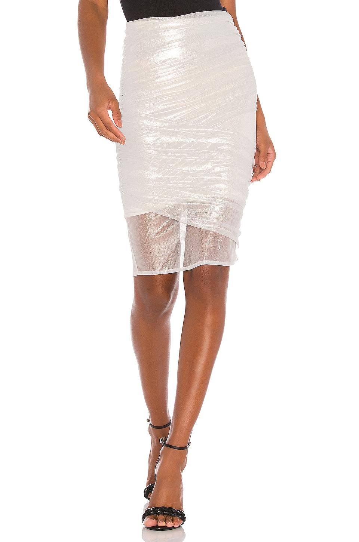 NBD Augustus Midi Skirt in Silver