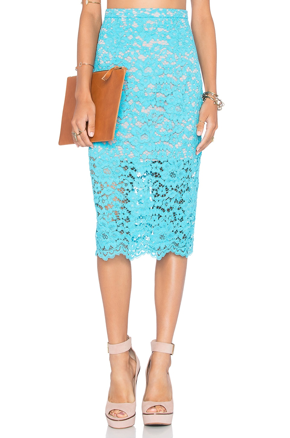NBD x Naven Twins Oblivion Layered Skirt in Turquoise Lace