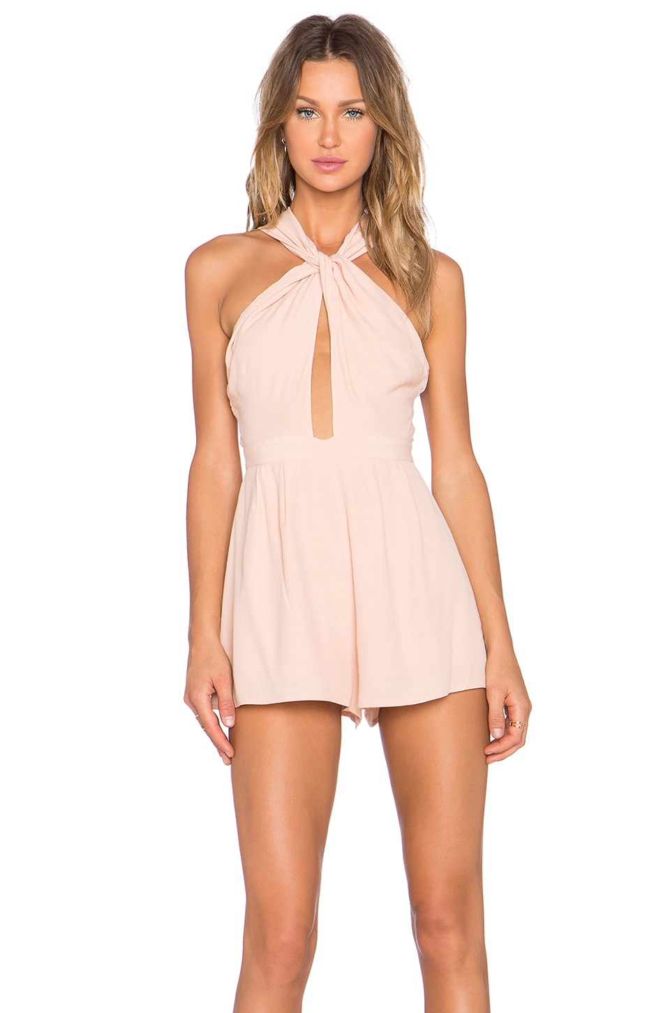 NBD Got Me Twisted Romper in Nude