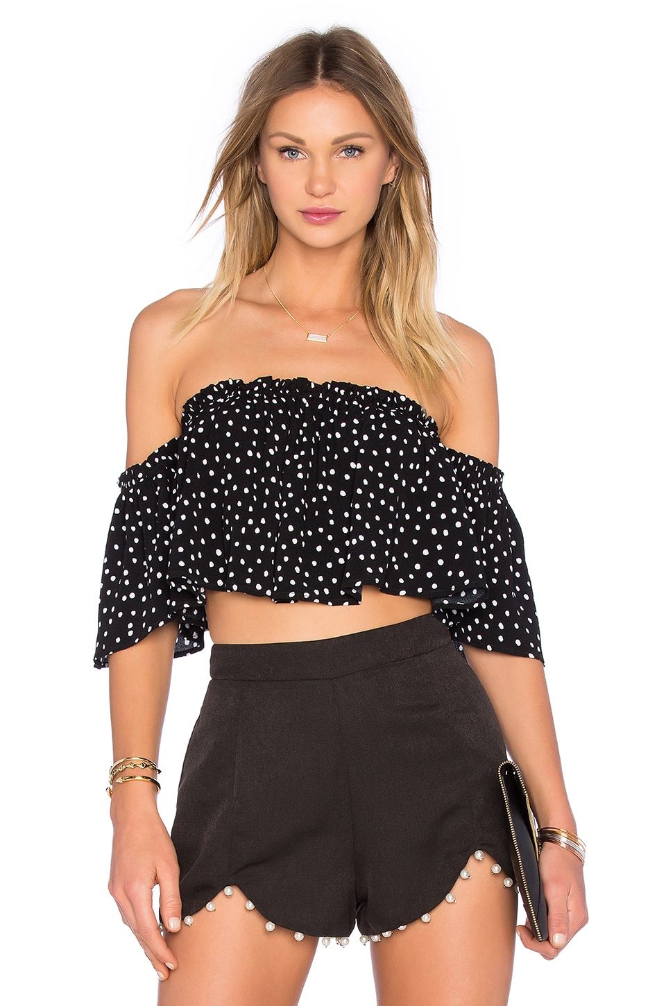 NBD Sunset Off The Shoulder Top in Polka Dot