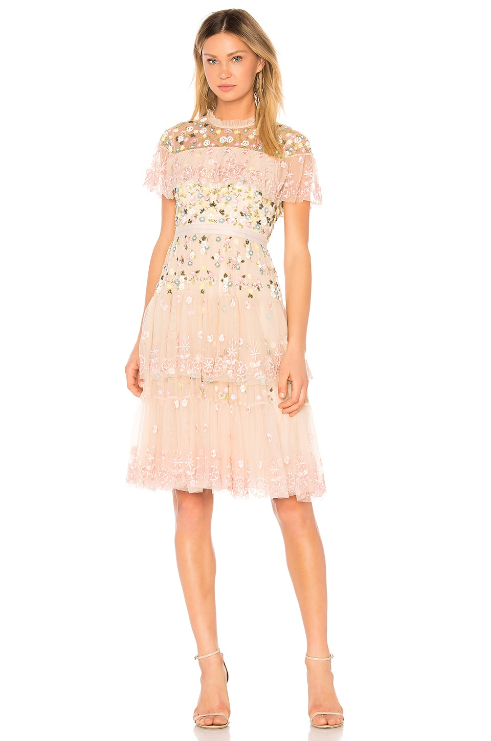 Needle & Thread Tiered Anglais Mini Dress in Petal Pink