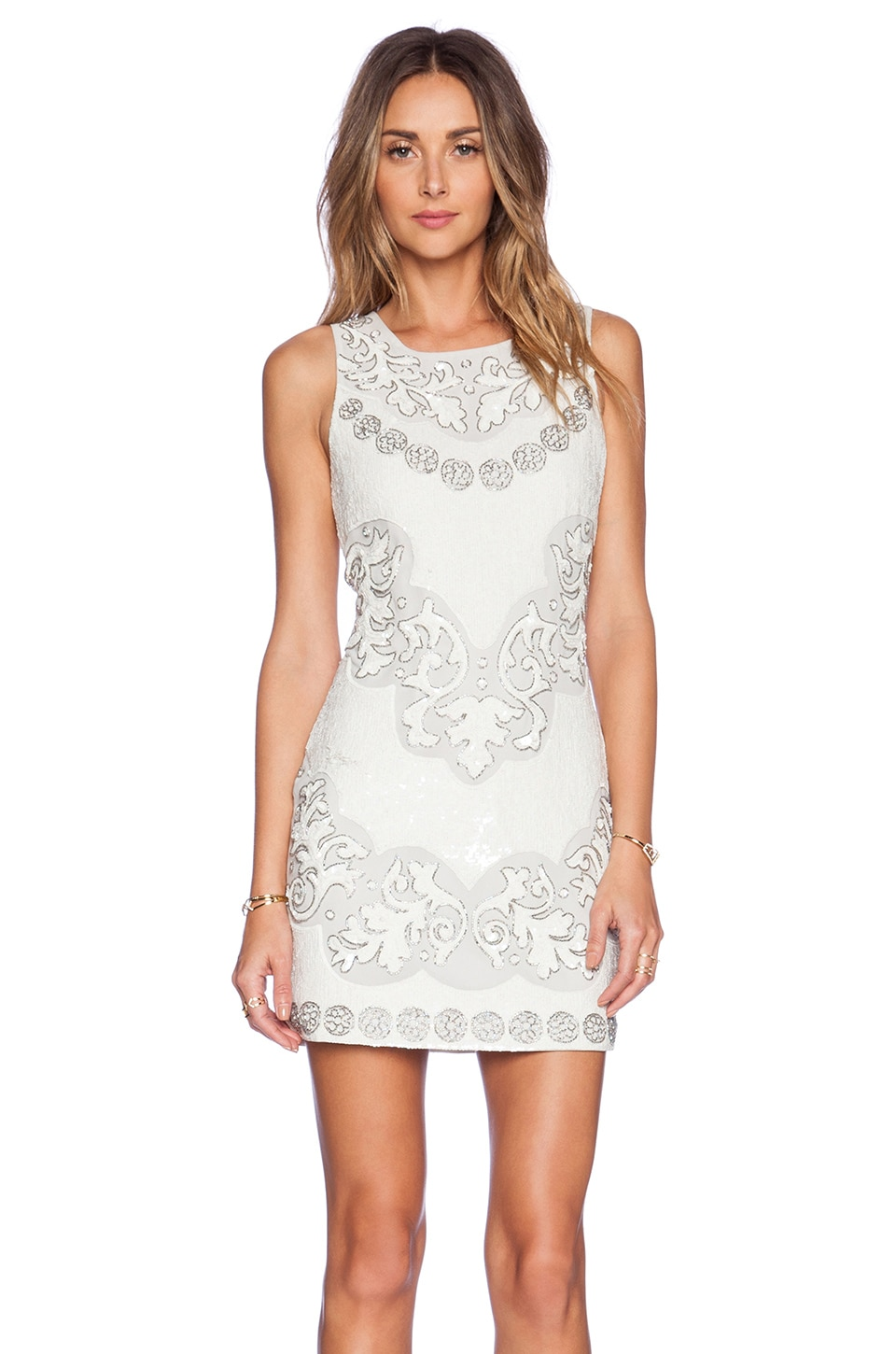 Needle & Thread Floral Cut-Out Mini Dress in Chalk & Sky