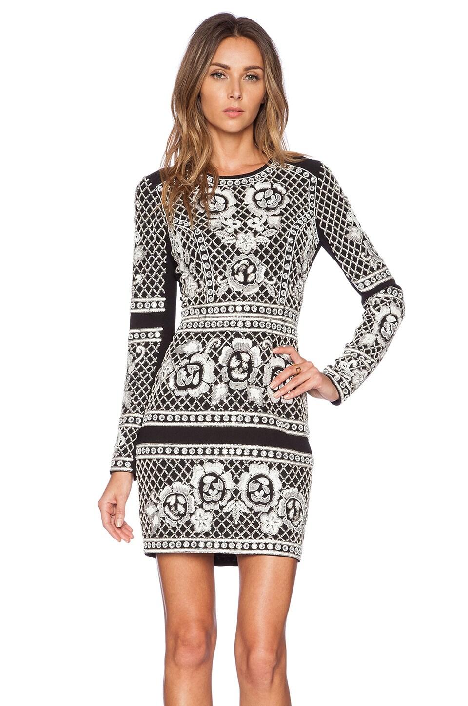 Needle & Thread Lace Grid Dress in Black
