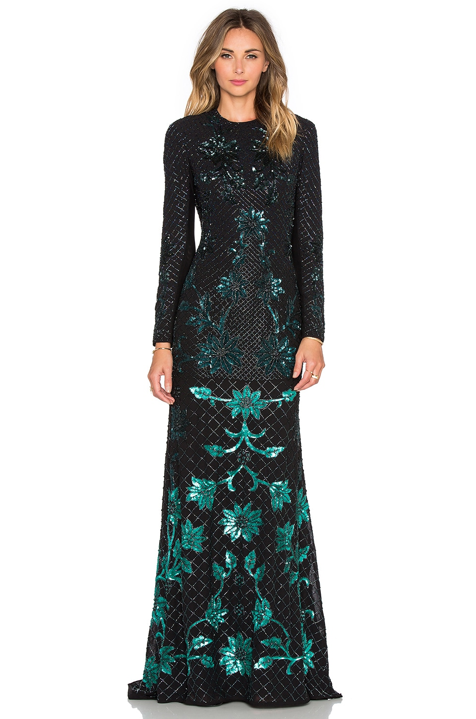 Needle & Thread Ombre Mesh Gown in Black & Green