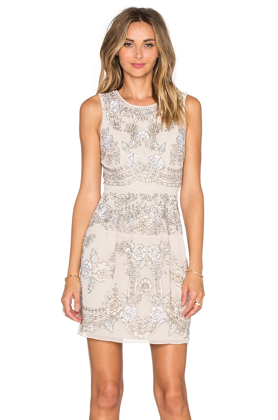 Needle & Thread Etch Lace Mini Dress in Dust Rose