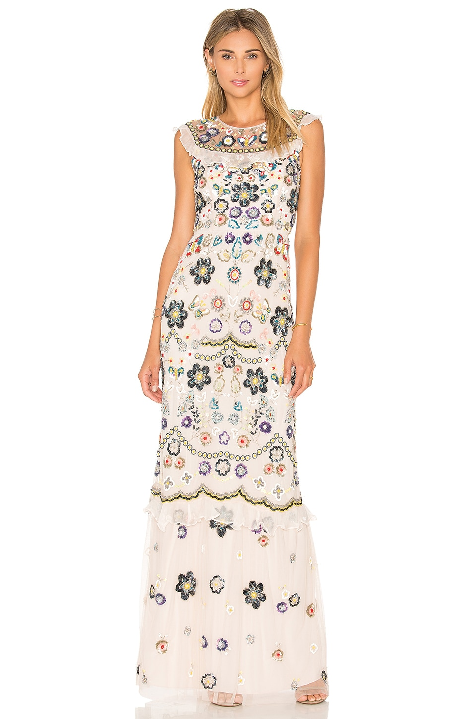 Needle & Thread Butterfly Garden Maxi Dress in Petal Pink