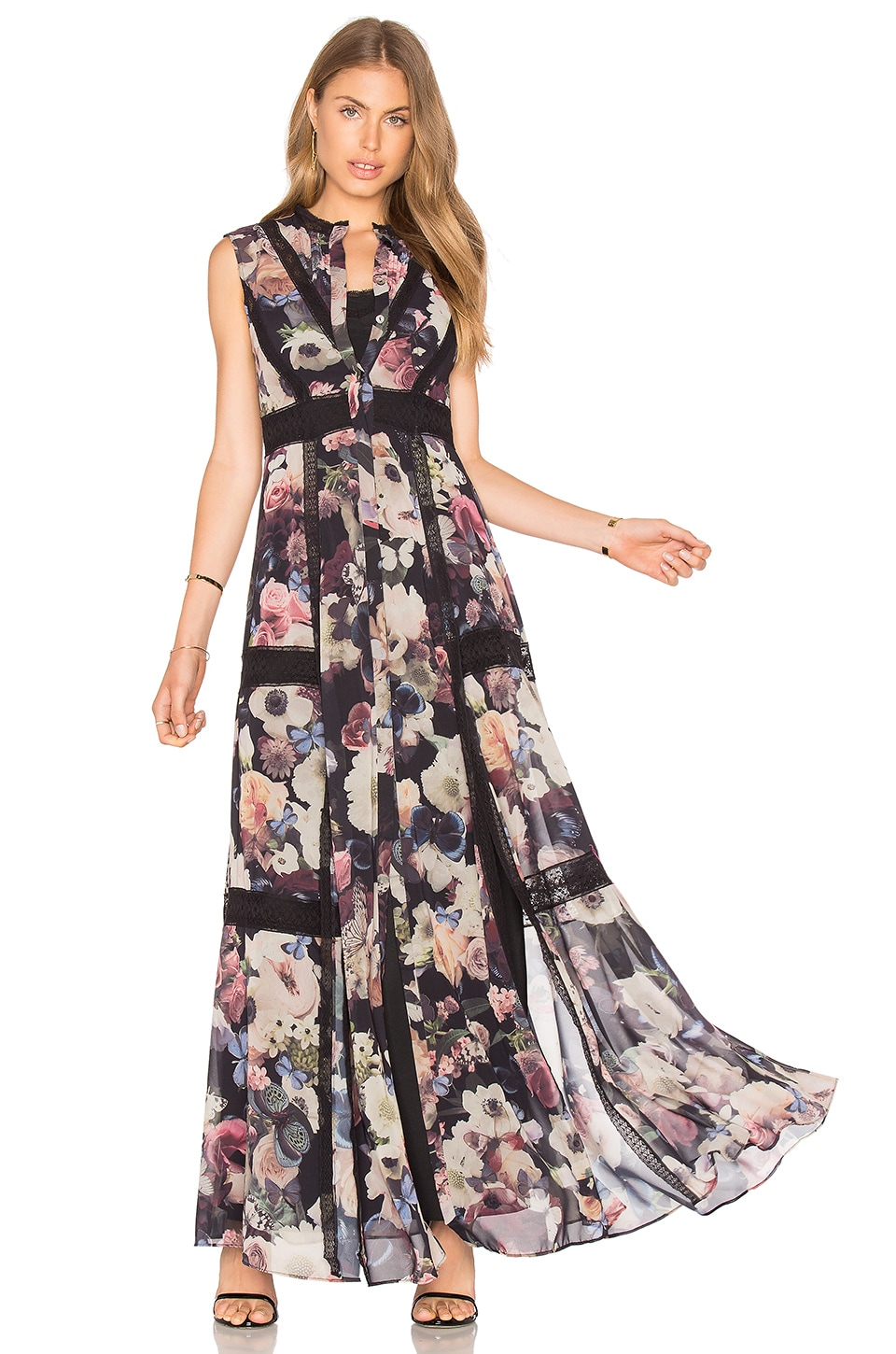 Needle & Thread Sleeveless Butterfly Gown in Butterfly Fairytale Print