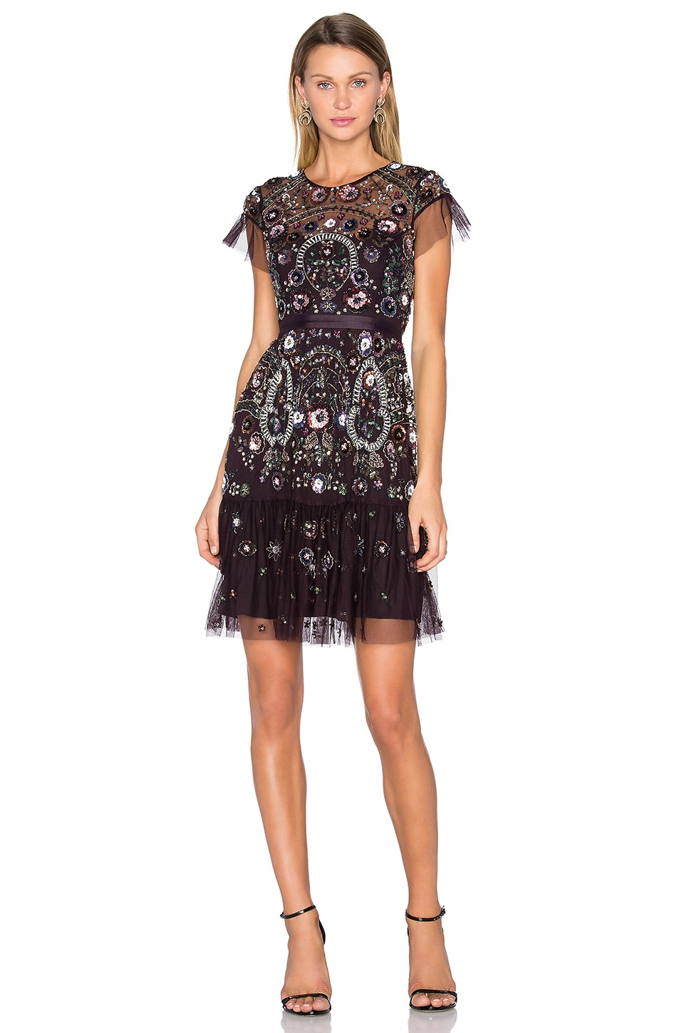 Needle & Thread Enchanted Lace Dress in Aubergine