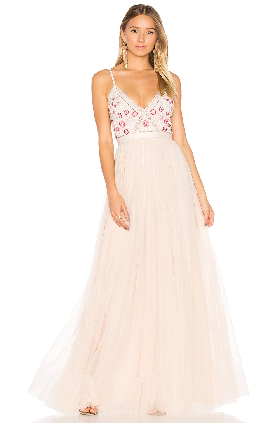 Needle & Thread Prairie Embroidery Maxi Dress in Petal Pink