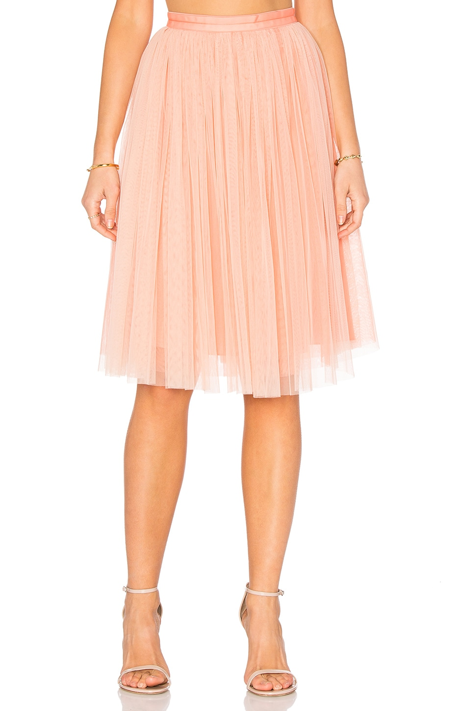 Needle & Thread Tulle Midi Skirt in Dust Coral