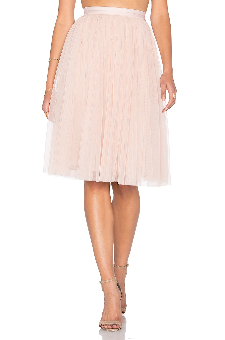 Needle & Thread Tulle Midi Skirt in Blush
