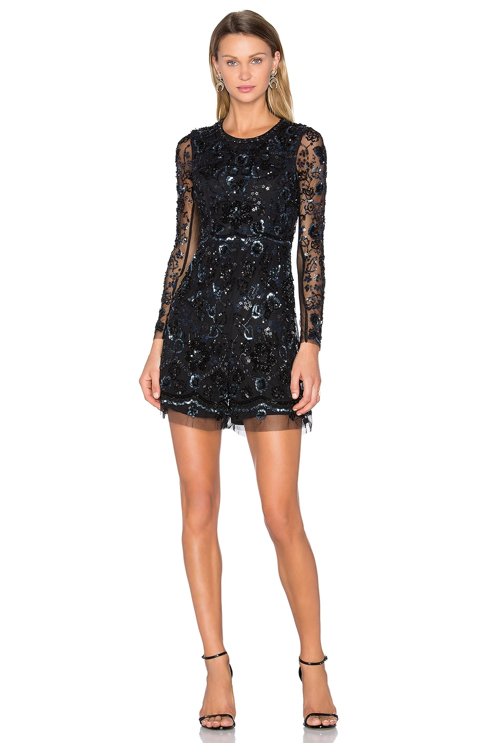 Needle & Thread Embellished Butterfly Playsuit in Black