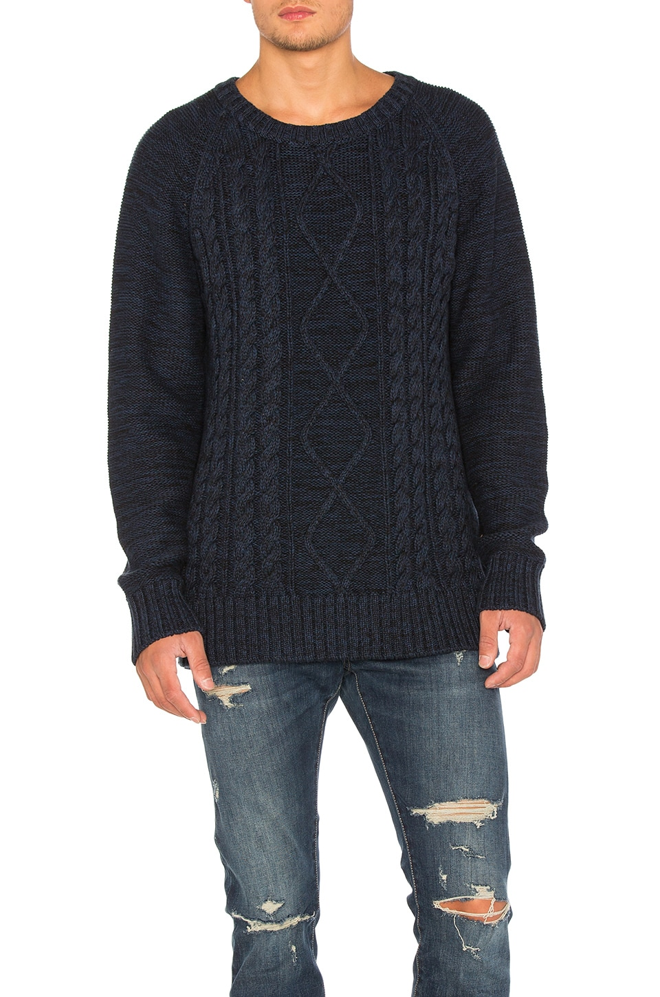 NEUW Cable Knit Sweater in Navy Melange | REVOLVE