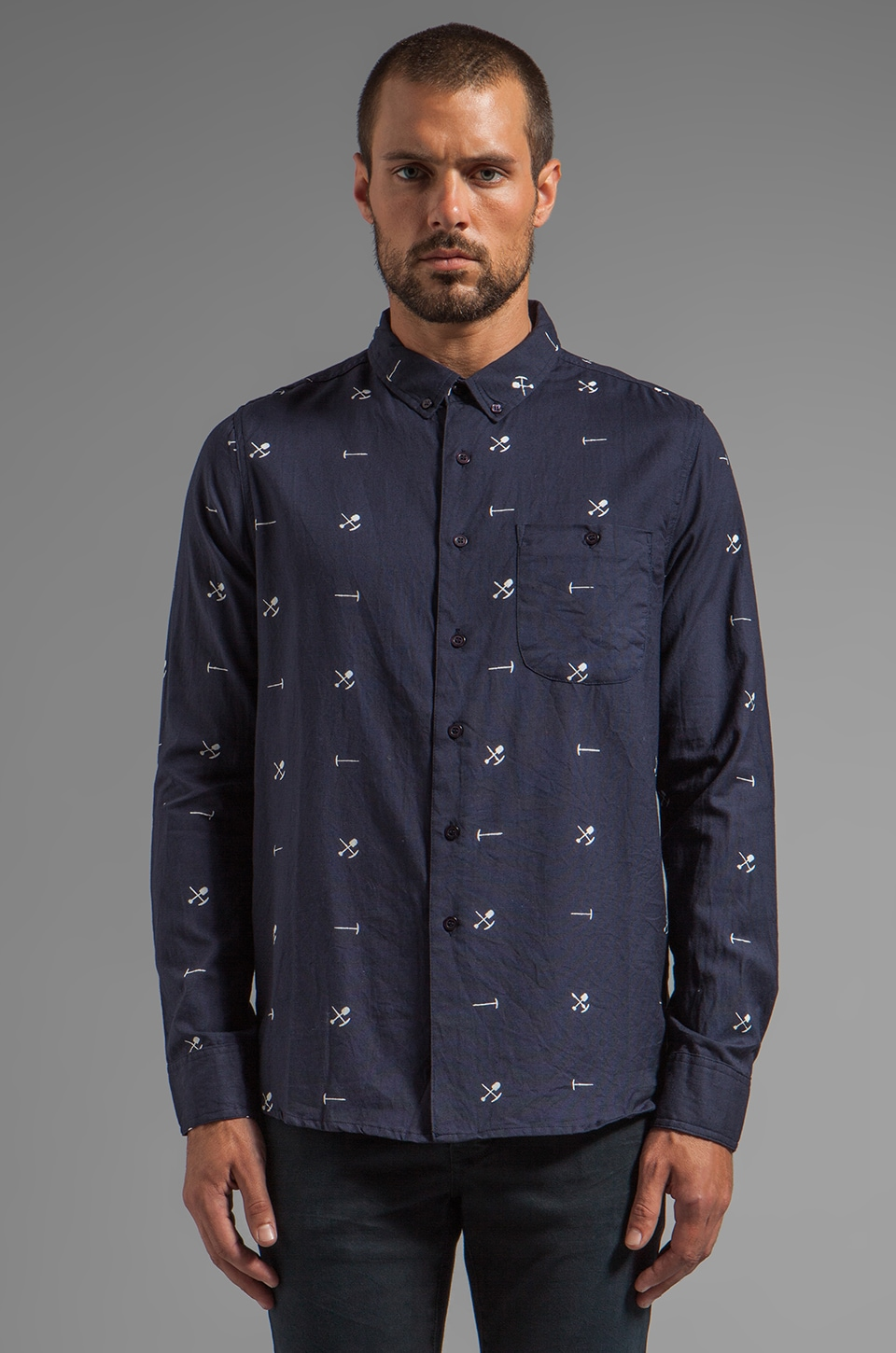 NEUW Goldfields Shirt in Navy/White