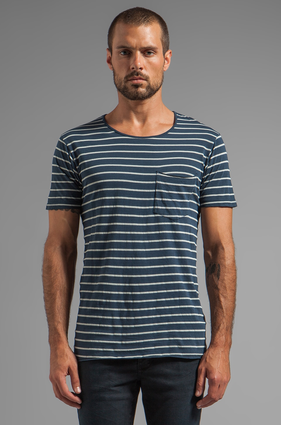 NEUW Enkel Stripe Pocket Tee in Midnight