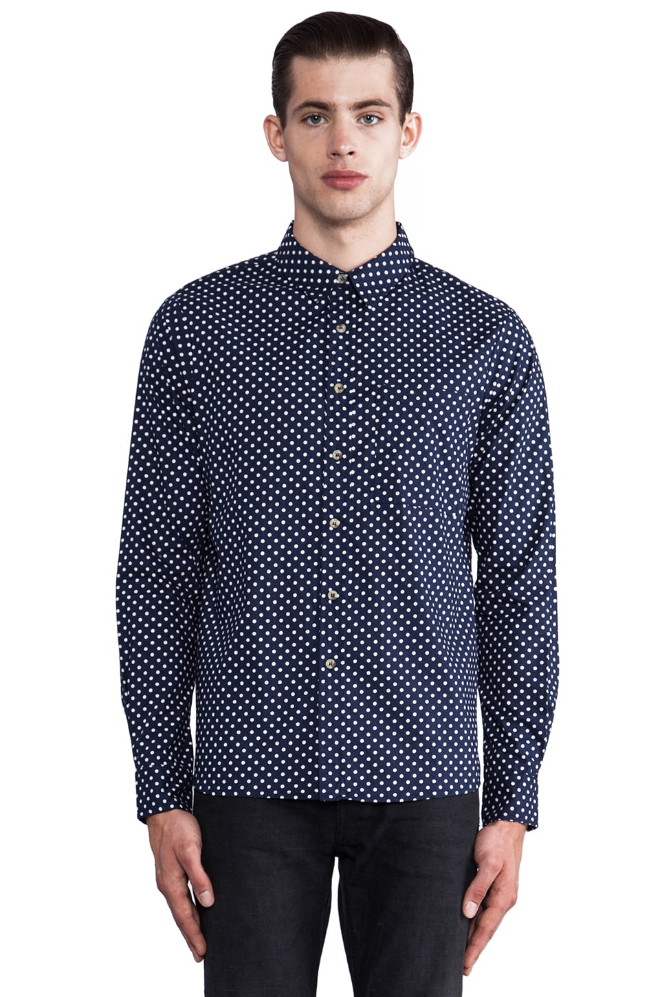 NEUW Dot Pattern Shirt in Indigo