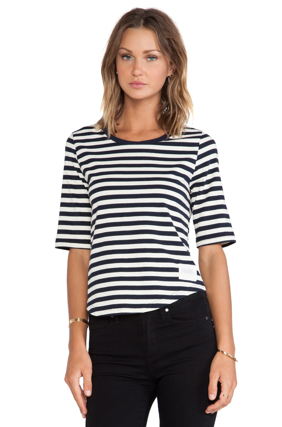 NEUW Rebel Stripe Tee in Navy/White