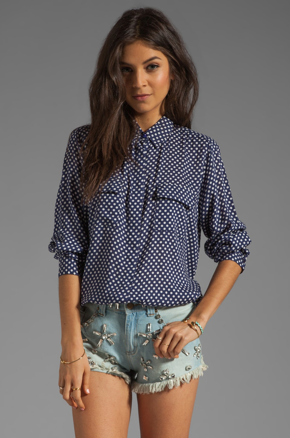 NEUW Polka Dot Shirt in Navy