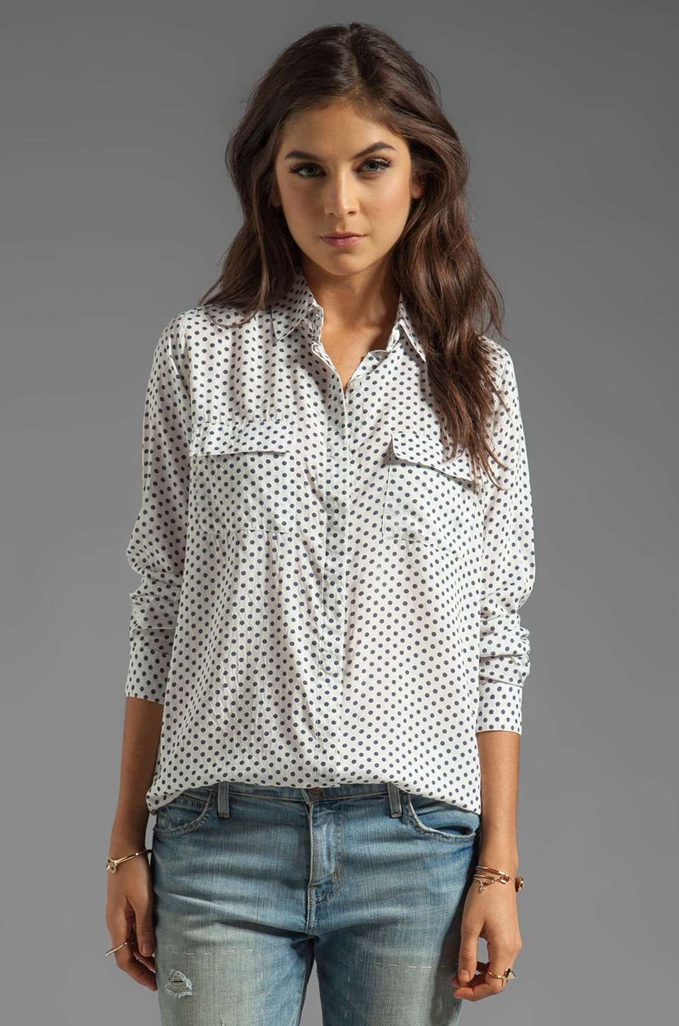 NEUW Polka Dot Button Up in Blue Spot