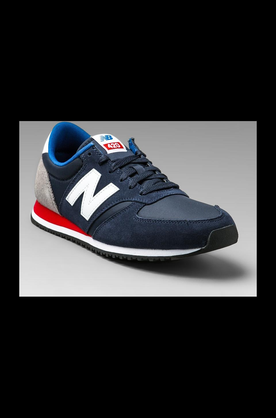 New Balance Classic U420 Suede/Nylon in Navy/Grey/Red