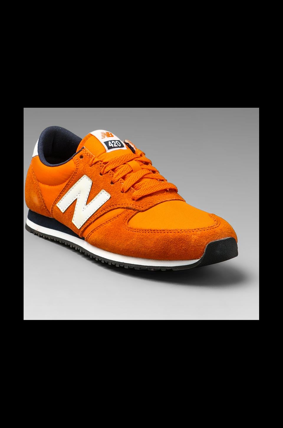 New Balance Classic U420 Suede/Nylon in Orange/Navy/White