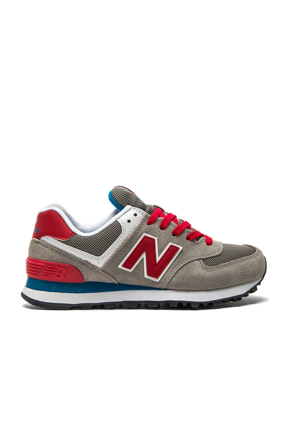 New Balance 574 Core Plus Collection Sneaker in Grey & Red