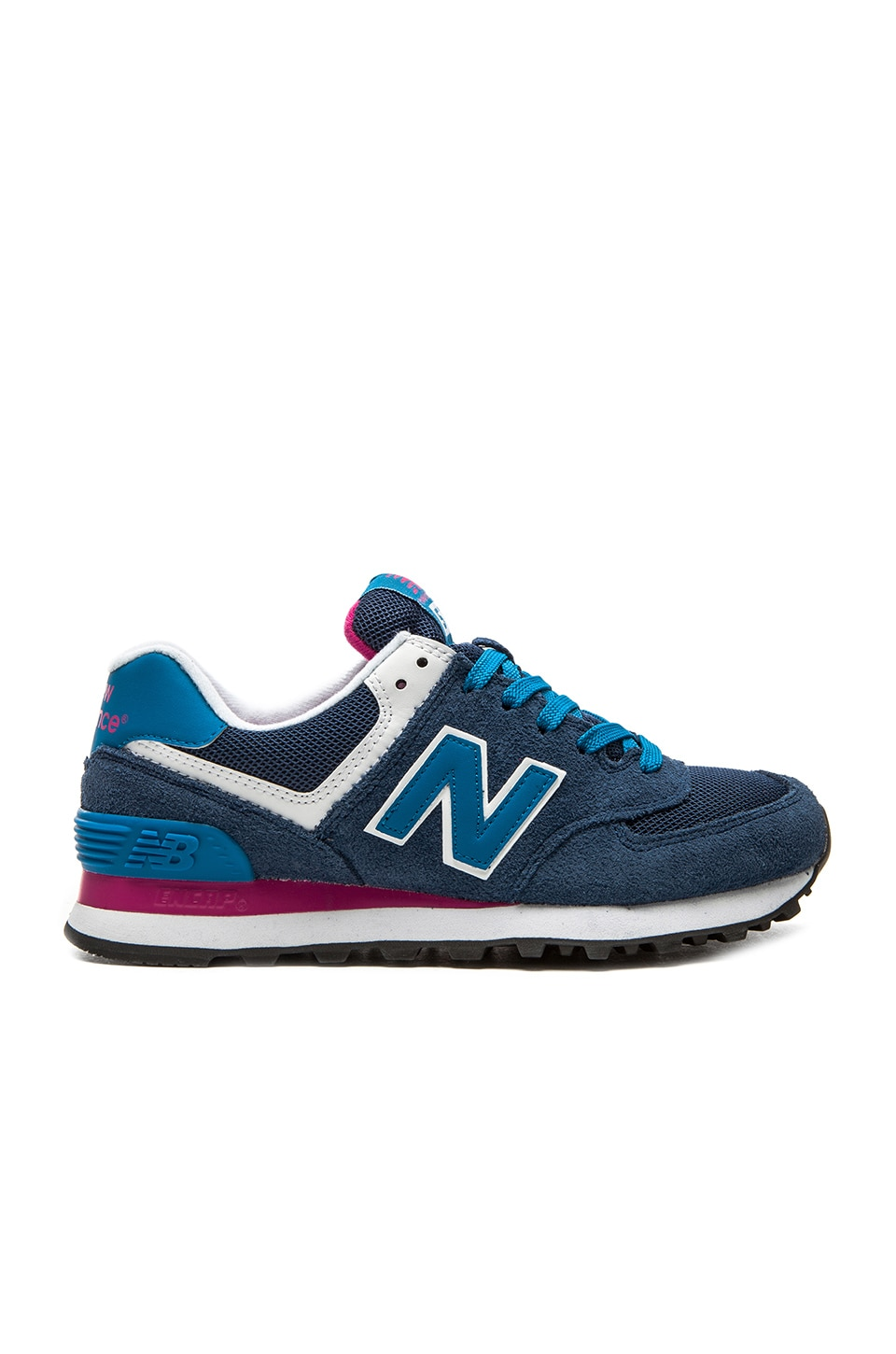 the best attitude e8bb9 7c4ac New Balance 574 Core Plus Collection Sneaker in Blue & Pink ...