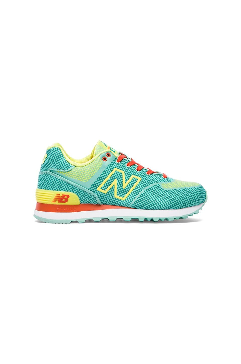 New Balance Woven Sneaker in Aquamarine & Lemon Pop