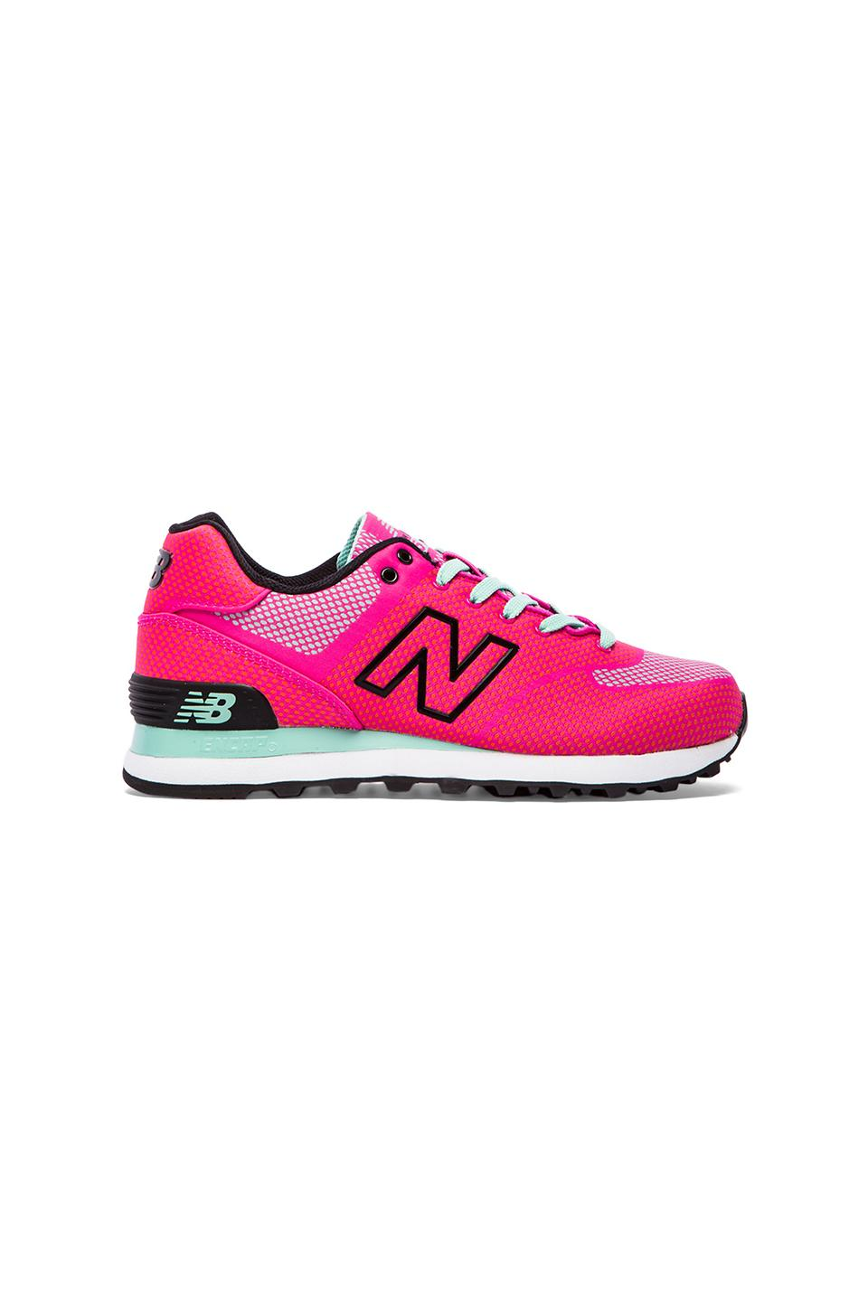 New Balance Woven Sneaker in Pink Glo & Aquamarine