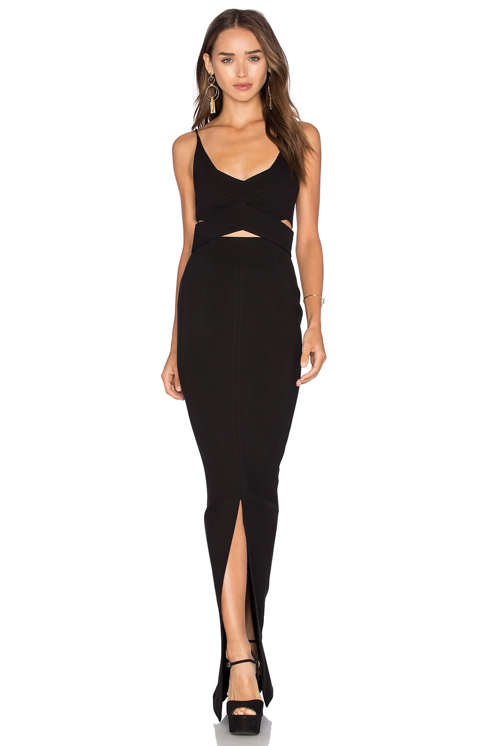 NICHOLAS Ponti Angled Wrap Gown in Black