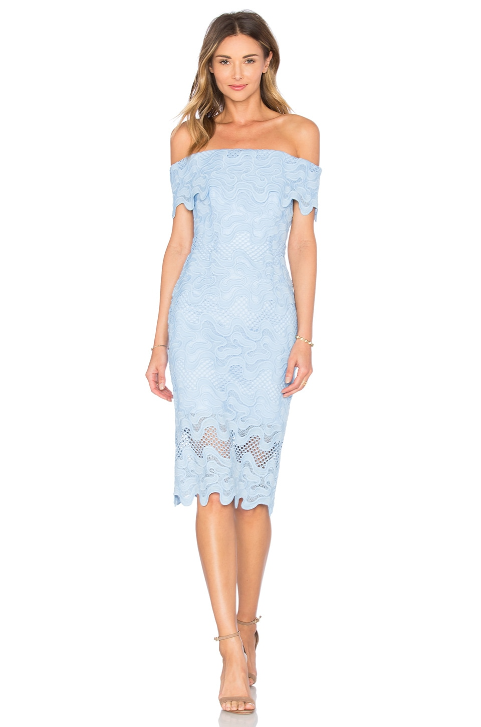 Squiggle Lace Off Shoulder Dress