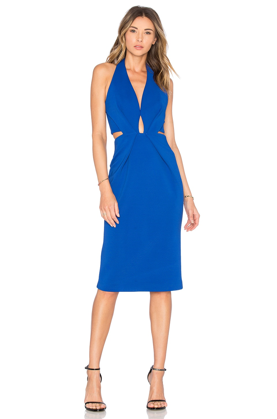 NICHOLAS Bandage Halter Plunge Dress in Monaco Blue